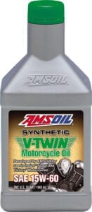 AMSOIL 15W-60 synthetic v-twin motorcycle oil.