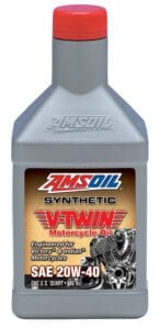 AMSOIL 20W-40 synthetic V-twin motorcycle oil.